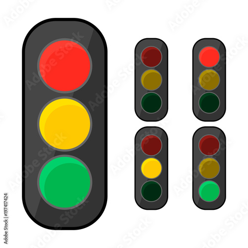 """""""Simple, Flat Traffic Light Icon. Can Be Used For An"""