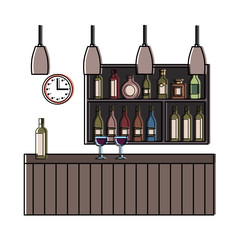 bar restaurant interior shelf counter beverage alcohol and glass cups vector illustration
