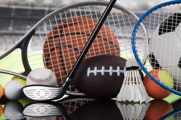Wall Mural - Group of sports equipment