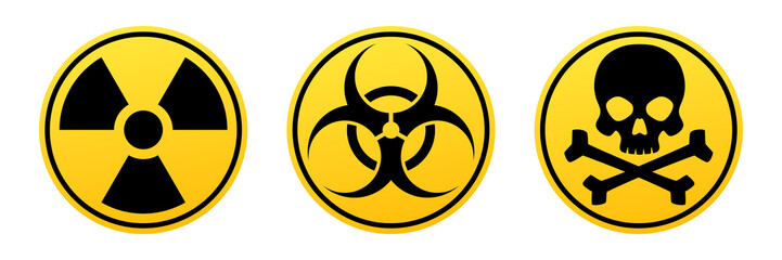 Danger yellow vector signs. Radiation sign, Biohazard sign, Toxic sign. Wall mural