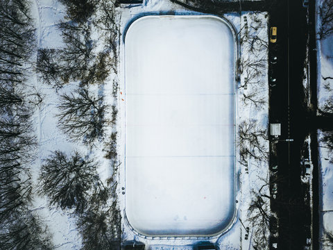 aerial view top down of winter sport ground skate rink