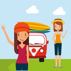 pair girls traveling vacation with van surfing boards vector illustration