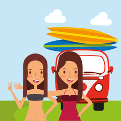 cute girls van surfing boards in the field vector illustration