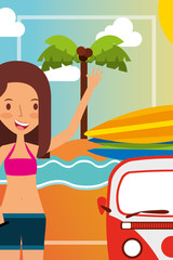 summer vacations beautiful woman with minivan in the beach vector illustration