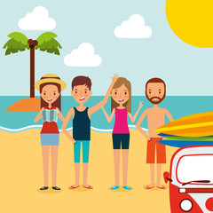 summer vacations people with minivan surfing boards in the beach vector illustration