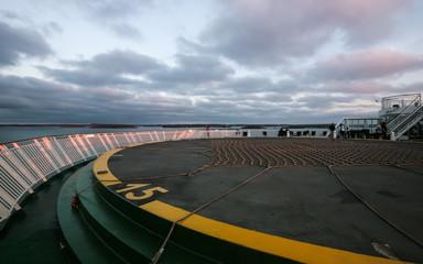 Sunset Sky Clouds Deck Ship Close-up