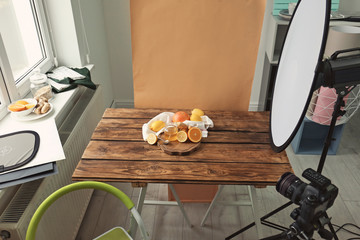 Photo studio with professional equipment for shooting food