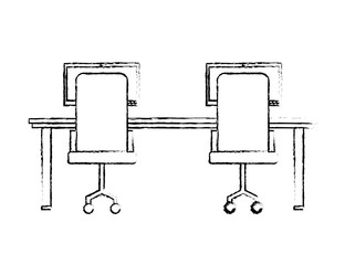 workspace armchairs table and computers view back vector illustration sketch design