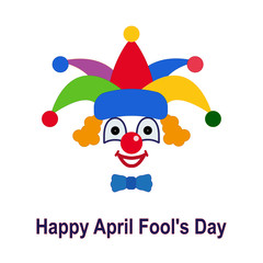 April fool's day. Icon of a clown in a colorful hat.