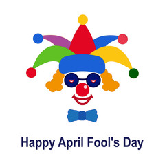 April fool's day. Icon of a clown in a colorful hat and glasses