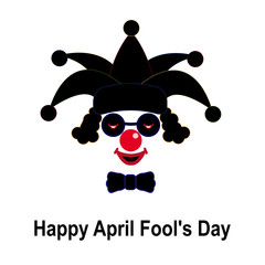April fool's day. Black and red clown icon in a hat