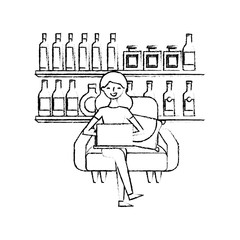 happy woman sitting in the sofa laptop and shelf with bottle glass beverages vector illustration sketch design