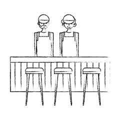employee baristas standing behind bar counter and stools vector illustration sketch design