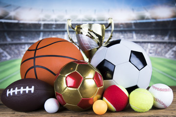 Winner trophy,  Sport equipment and balls