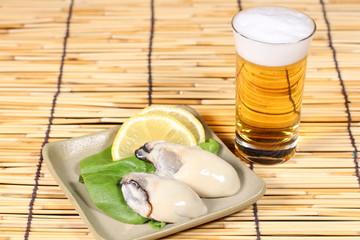 生牡蠣とビール