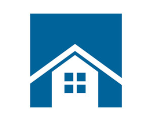 blue rectangle house home housing residence residential real estate image vector icon logo symbol