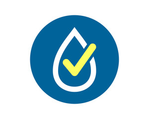 blue circle water drop droplets checklist sign icon