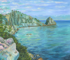 View on the sea shore with cliffs and trees from a great rock. Calm sea waves. Clouds and distant horizon. Oil painting.