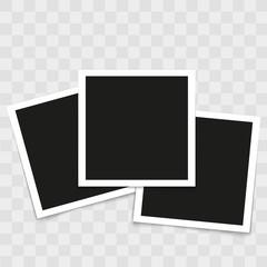 Set of vintage photo frames on transparent background. Vector.