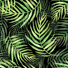 Foto op Canvas Tropische Bladeren Seamless watercolor pattern, background. Palm leaf background, postcard. Green tropical palm leaf. Illustration for design wedding invitations, greeting cards, postcards. On a black background