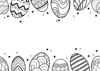 Easter eggs in black outline line up at the top and the bottom of picture on white background. Cute hand drawn seamless pattern design for Easter festival in vector illustration.