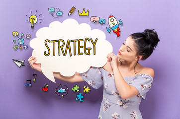 Strategy with young woman holding a speech bubble