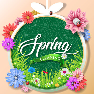Spring cleaning with set of cleaning supplies and tools pattern. Spring cleaning background. Grand ménage de printemps.