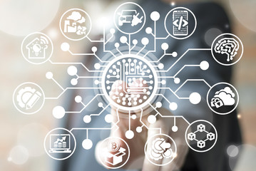 Circuit Board Integrate Business Finance Industry 4.0 concept. Semiconductors Electronic Technology. Man pressing microchip button on a virtual screen.