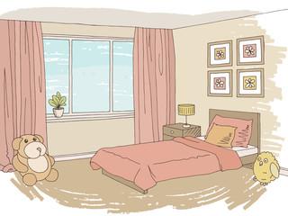 Children room graphic color interior sketch illustration vector
