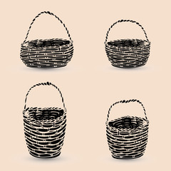 Collection of black baskets, silhouette on beige background,