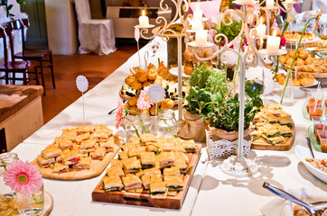 real buffet tables ready for an aperitif or appetizer