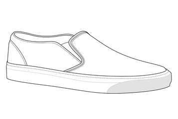 Slip-on shoes fashion flat technical drawing template