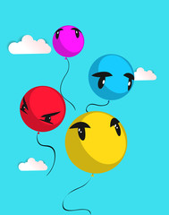 Vector background with colored balloons. A set of balls with different emotions on their faces. Balloons fly to the sky.