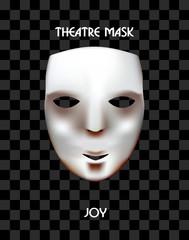 Theatre mask on a checkered background. Joyful mask. Fun.
