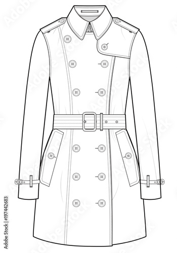 Coat fashion vector illustration flat sketches template\
