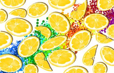 Fruit background, lemons, tropical leaves, pineapples, watermelon