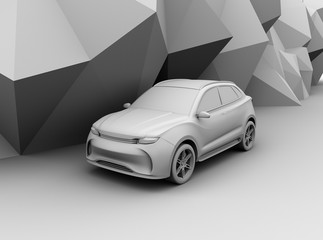 Clay model rendering electric SUV on geometric background. 3D rendering image.