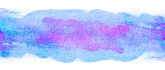 Beautiful violet strip hand drawn abstract watercolor stain background. Artwork painting. splash