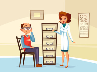 Vector cartoon woman doctor ophthalmologist helps adult man patient with diopters glasses selection. Female optometristh caracter in medical uniform vision consultation. Eye healthcare concept
