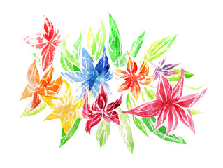 Hand painted element for design. Watercolor flowers. Botanical detail for cards, poster, scrabooking, web, invitations.