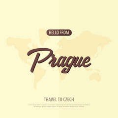Hello from Prague. Travel to Czech Republic. Touristic greeting card. Vector illustration