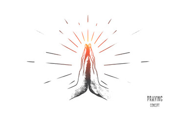 Praying concept. Hand drawn hands in praying position. Prayer to god with faith and hope isolated vector illustration.