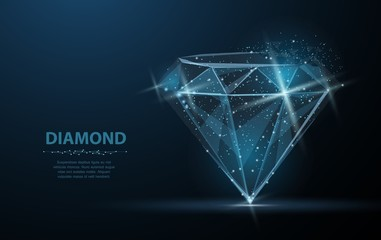 Diamond. Jewelry, gem, luxury and rich symbol, illustration or background Wall mural