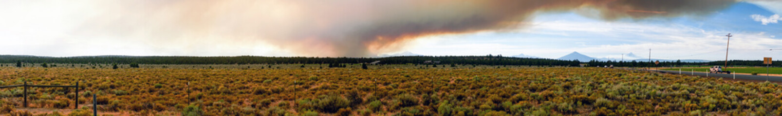 Long Panoramic Cascade Mountain Range Forest Wildfire