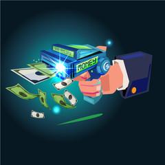 Money gun concept. businessman shooting gun for money banknote. auto money. make more money concept - vector