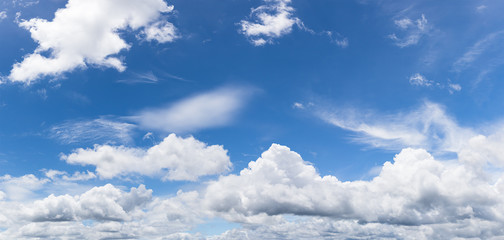 Panoramic white fluffy cloud in the blue sky