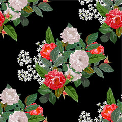 Seamless background with beautiful roses. Design for cloth, wallpaper, gift wrapping. Print for silk, calico and home textiles.Vintage natural pattern