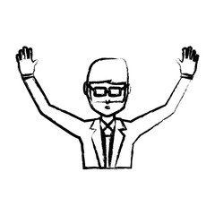 sketch of avatar businessman with arms up icon over white background, vector illustration