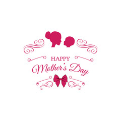 Mother with child silhouettes. Mothers day greeting card design.  illustration.