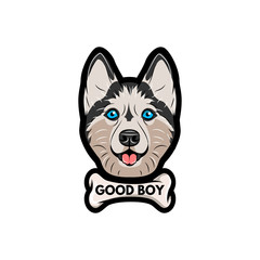 Husky dog with bone. Good boy lettering.  illustration.